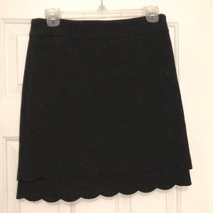 LOFT - Double Scalloped Ruffle Black Skirt